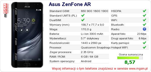 Dane telefonu Asus ZenFone AR