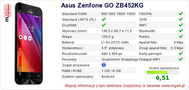 Dane telefonu Asus Zenfone GO ZB452KG