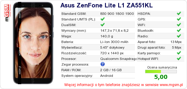 Dane telefonu Asus ZenFone Lite L1 ZA551KL