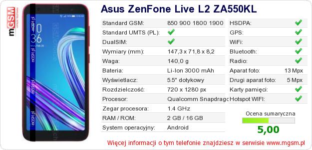 Dane telefonu Asus ZenFone Live L2 ZA550KL