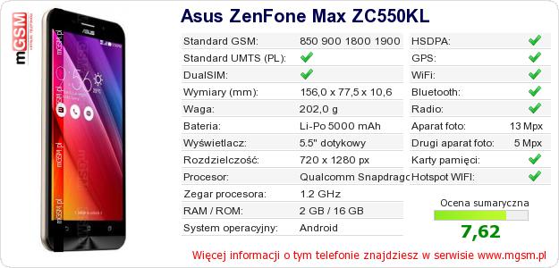 Dane telefonu Asus ZenFone Max ZC550KL