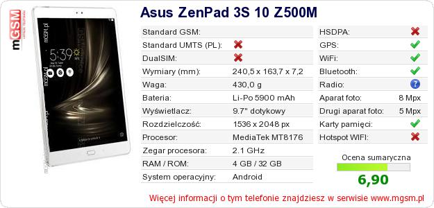 Dane telefonu Asus ZenPad 3S 10 Z500M