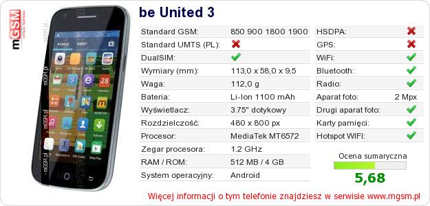 Dane telefonu be United 3