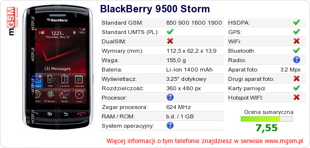 Dane telefonu BlackBerry 9500 Storm