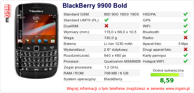 Dane telefonu BlackBerry 9900 Bold