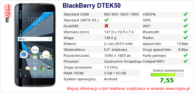 Dane telefonu BlackBerry DTEK50