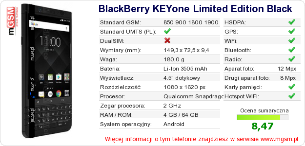 Dane telefonu BlackBerry KEYone Limited Edition Black