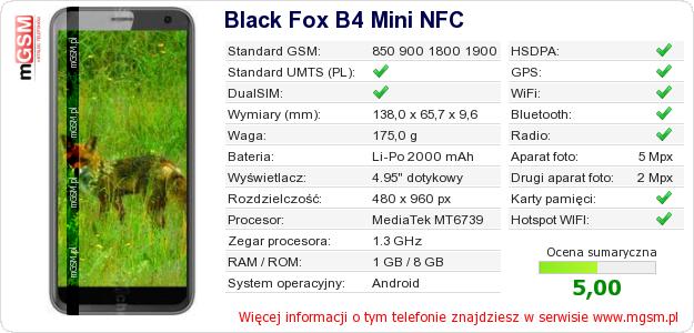 Dane telefonu Black Fox B4 Mini NFC