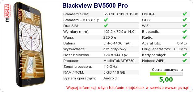 Dane telefonu Blackview BV5500 Pro