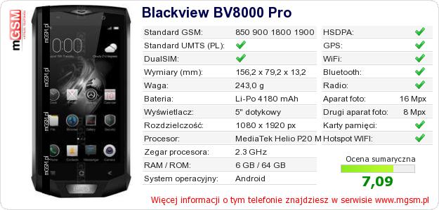 Dane telefonu Blackview BV8000 Pro