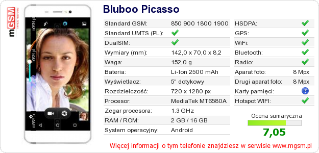 Dane telefonu Bluboo Picasso