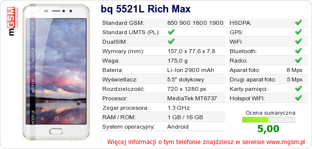 Dane telefonu bq 5521L Rich Max