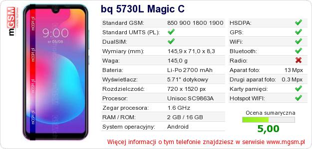 Dane telefonu bq 5730L Magic C