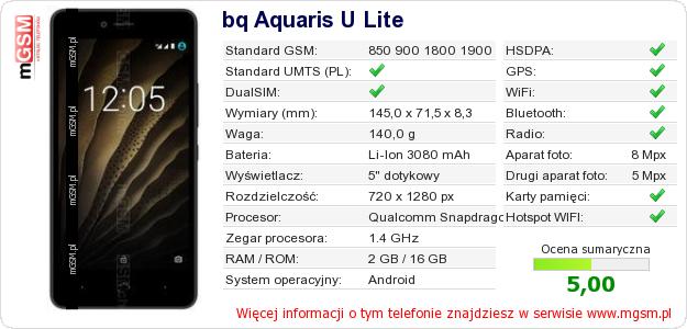 Dane telefonu bq Aquaris U Lite