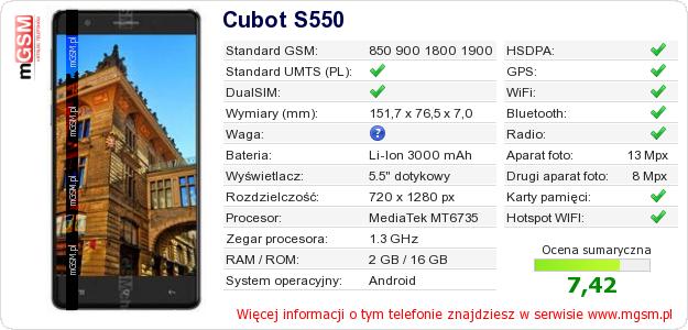 Dane telefonu Cubot S550