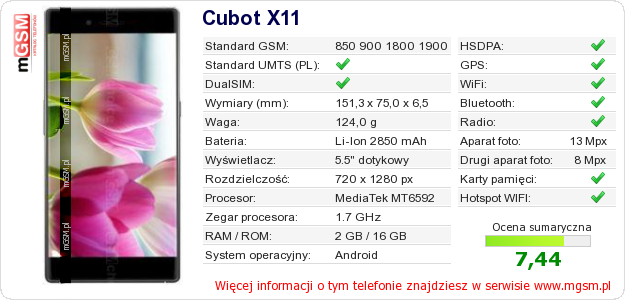 Dane telefonu Cubot X11