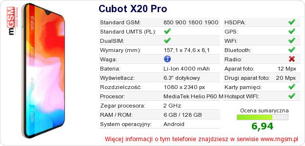 Dane telefonu Cubot X20 Pro