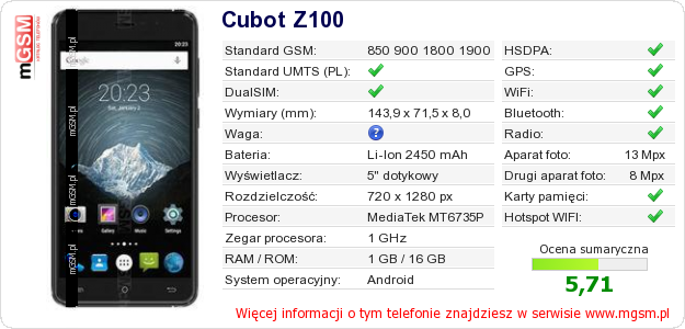 Dane telefonu Cubot Z100