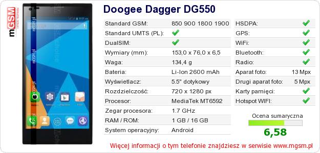 Dane telefonu Doogee Dagger DG550