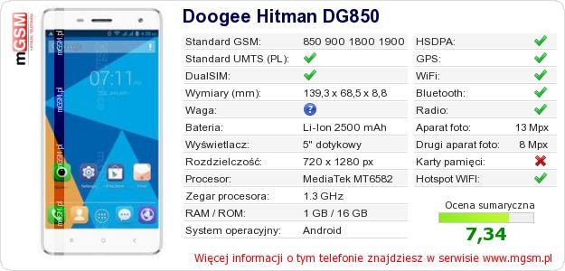 Dane telefonu Doogee Hitman DG850