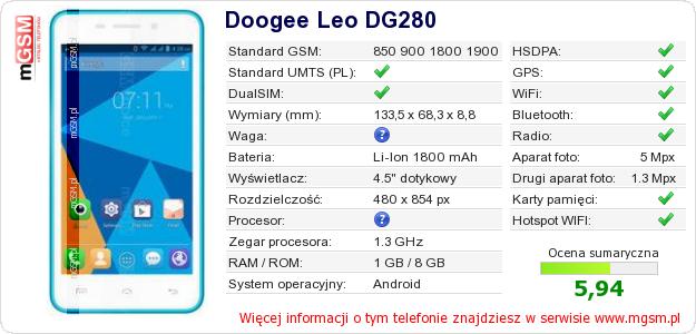 Dane telefonu Doogee Leo DG280