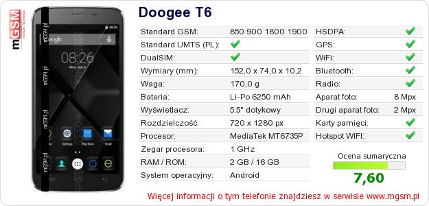 Dane telefonu Doogee T6