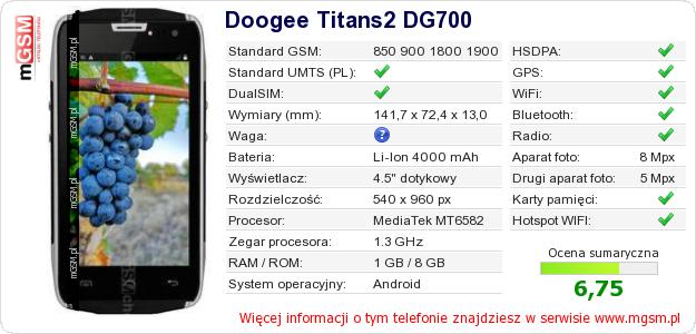 Dane telefonu Doogee Titans2 DG700