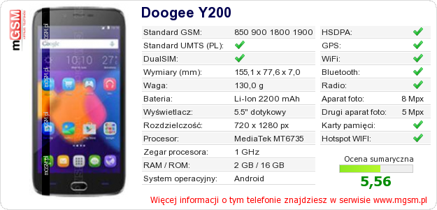 Dane telefonu Doogee Y200