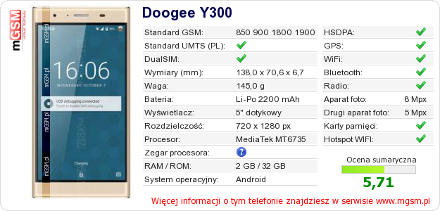 Dane telefonu Doogee Y300