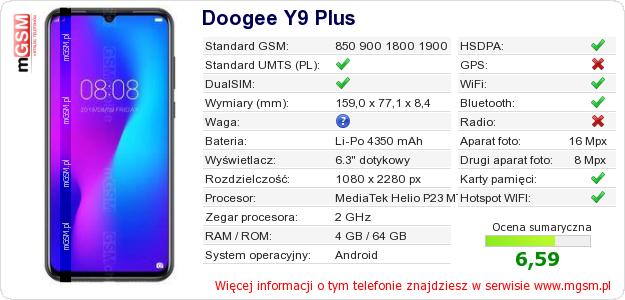 Dane telefonu Doogee Y9 Plus