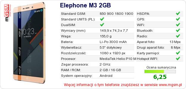 Dane telefonu Elephone M3 2GB