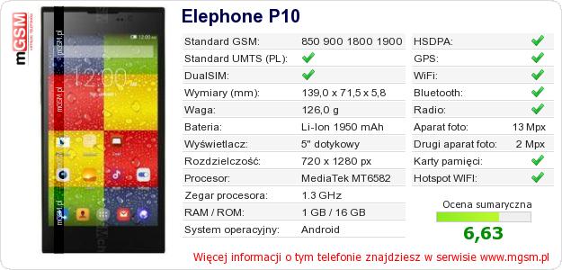 Dane telefonu Elephone P10