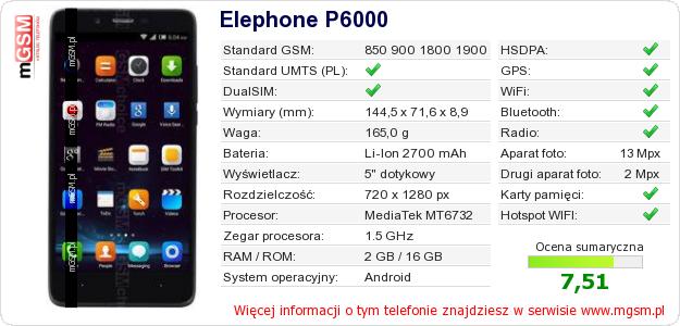 Dane telefonu Elephone P6000