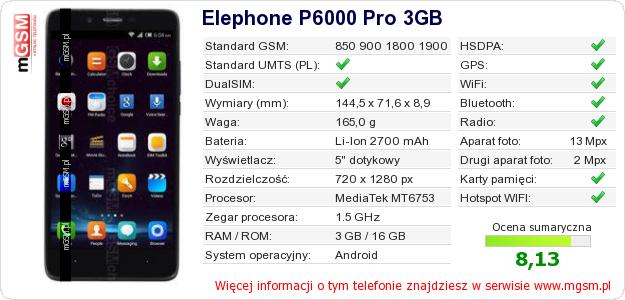 Dane telefonu Elephone P6000 Pro 3GB