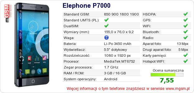 Dane telefonu Elephone P7000