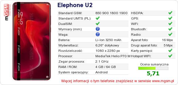 Dane telefonu Elephone U2