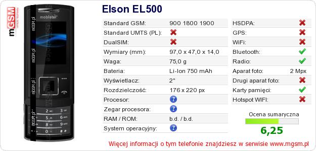 Dane telefonu Elson EL500