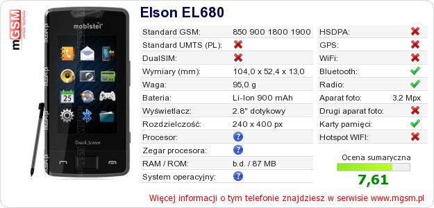 Dane telefonu Elson EL680