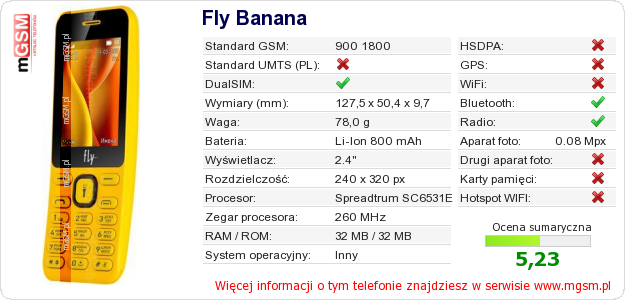 Dane telefonu Fly Banana