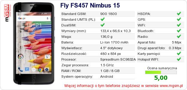 Dane telefonu Fly FS457 Nimbus 15