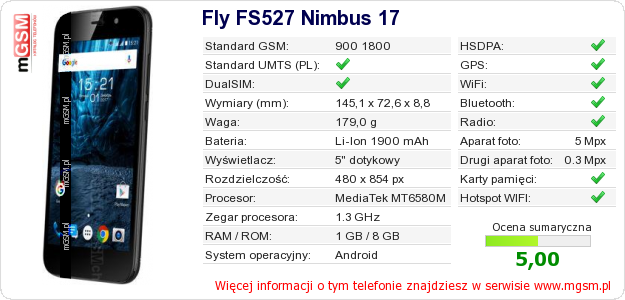 Dane telefonu Fly FS527 Nimbus 17