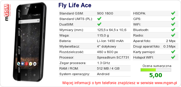 Dane telefonu Fly Life Ace