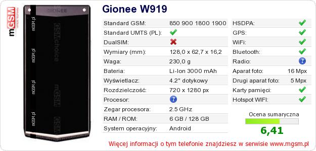 Dane telefonu Gionee W919