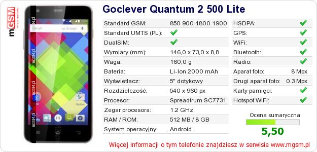 Dane telefonu Goclever Quantum 2 500 Lite