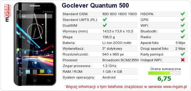 Dane telefonu Goclever Quantum 500