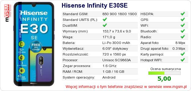 Dane telefonu Hisense Infinity E30SE