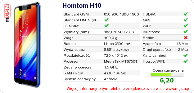 Dane telefonu Homtom H10