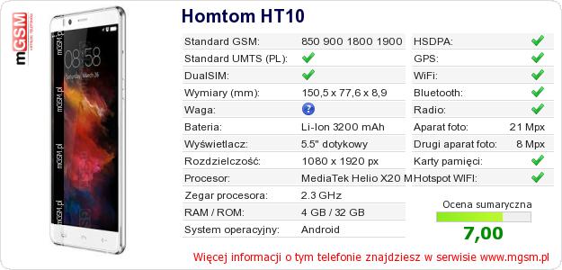 Dane telefonu Homtom HT10