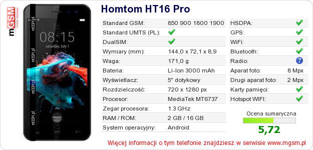 Dane telefonu Homtom HT16 Pro