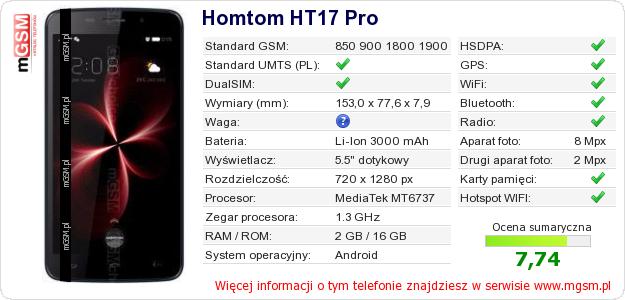 Dane telefonu Homtom HT17 Pro